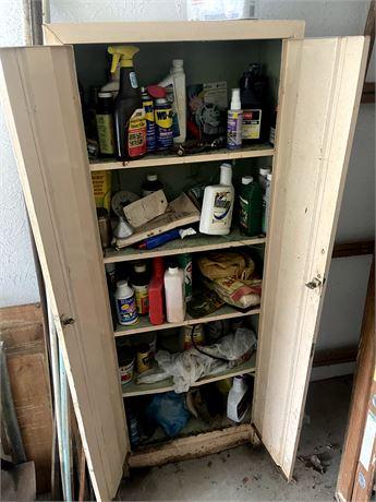 5 Shelf metal storage cabinet w/ contents