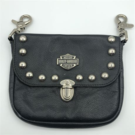 Harley Davidson Motor Cycles Black Leather Purse Officially Licensed Product
