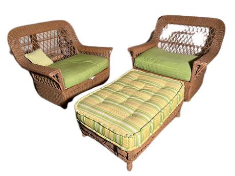 Outdoor Wicker Set and Teak Chairs