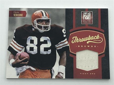 LE /199 Ozzie Newsome 2012 Panini Elite Throwback Threads Game Used Patch Card