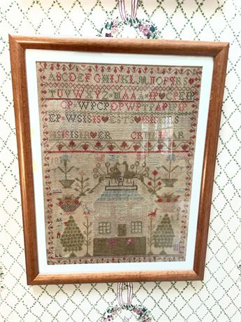 1834 Sampler with House and Fancy Birds