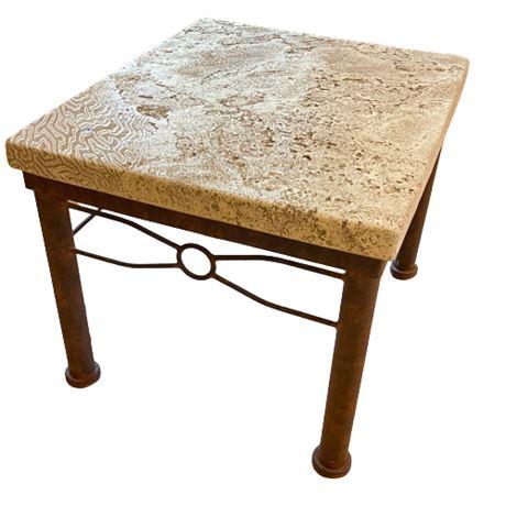 Decorator Faux Stone & Iron End Table