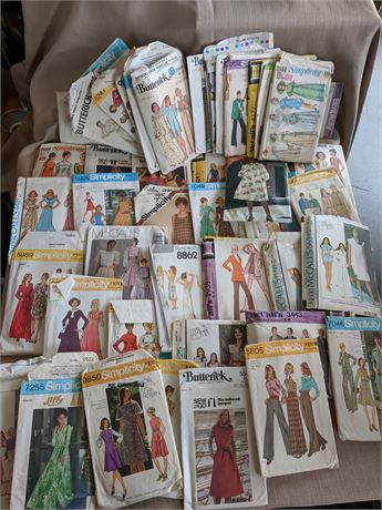 Large Lot of 1970's Sewing Patterns