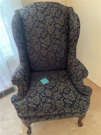Blue/Green Patterned Wingback Chair