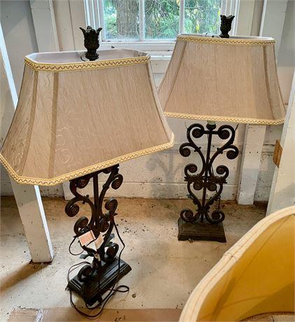 Pair of Metal Scrolled Table Lamps