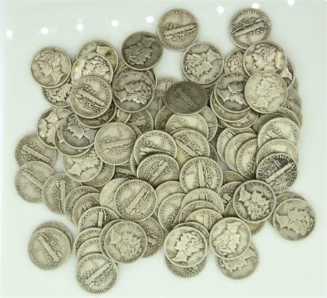 100 Unsearched Silver Mercury Dimes From Old Estate 1916-1945