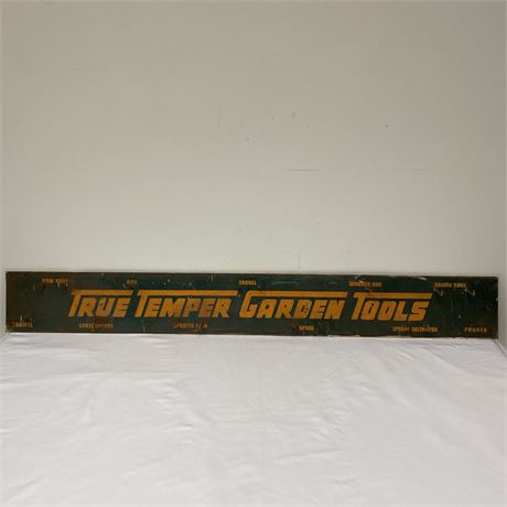 4 ft. Vintage True Temper Garden metal advertisement store display sign w/hooks