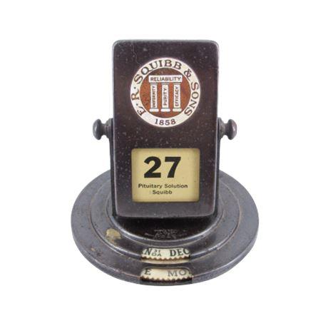 1858 E.R. Squibb & Sons Enamel Metal Perpetual Flip Calendar