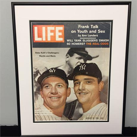 Framed Life Magazine Cover August '61 Mantle/Maris