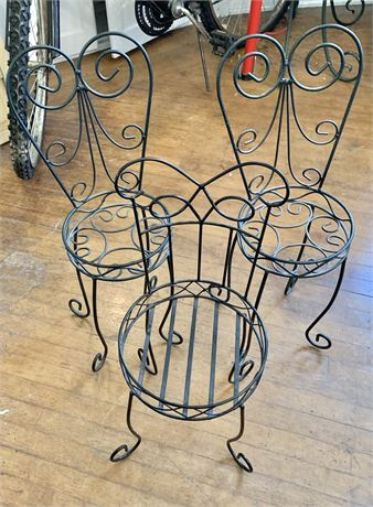3 Wrought Iron Chair Planters
