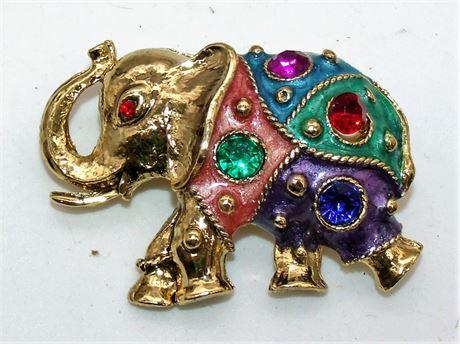 Enamel & Stone brooch elephant