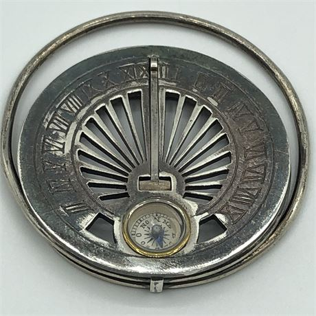 Vintage Mappin Silver Sundial Compass French Money Clip BREVETE SGDG