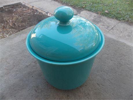 Vintage Nancy Calhoun Dark Aqua stoneware - smaller canister with lid