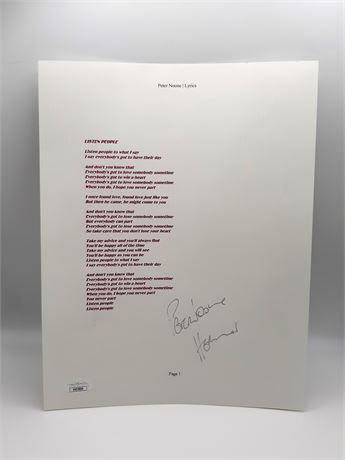 Peter Noone Listen People Signed Lyrics Sheet JSA COA