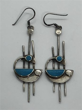Art Deco Turquoise Sterling Silver Earrings