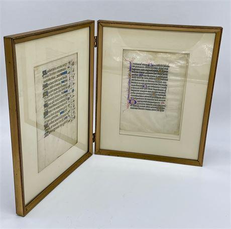 2 Illuminated Latin Manuscript Leaves