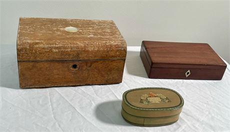 Antique English Burlwood Sewing Box