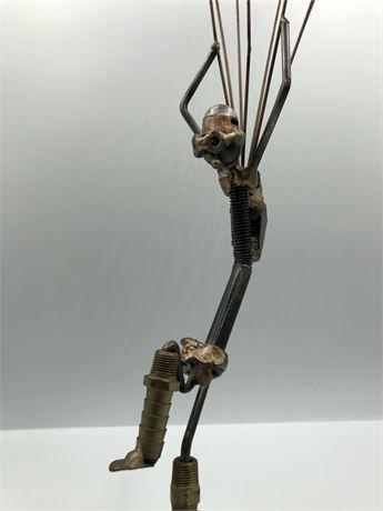 Sonny Dalton Metal Sculpture Art Steampunk Artist Signed Paratrooper Figurine