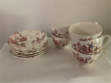 English Staffordshire-Tudor Roses 5 Cups and 7 Saucers