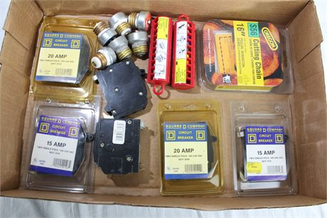 """15 & 20Amp Circuit Breakers, Fuses, & 16"""" Cutting Chain"""