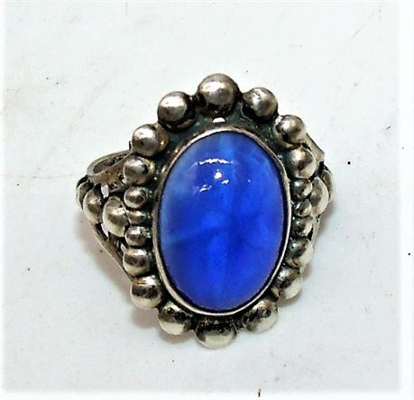 Sterling Blue Cabochon ring