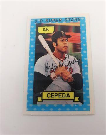Orlando Cepeda Boston Red Sox #24 3D Super Star Signed Baseball Card