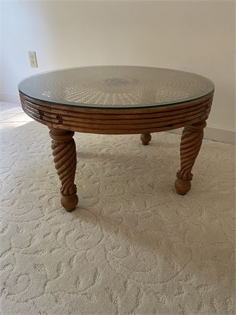 Cane Top Low Coffee Table
