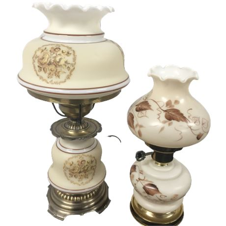 Lot of 2 Small Hurricane Style Lamps