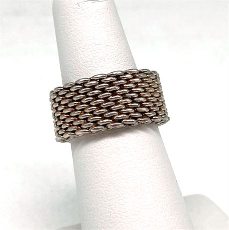 Tiffany & Co Sterling Silver Mesh Somerset Flex Wide Band