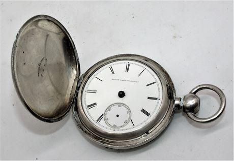 Antique SILVER Elgin Wheeler pocket watch