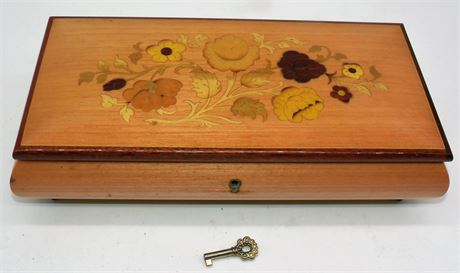"Italy inlay music box 10 1/2"" jewelry box"