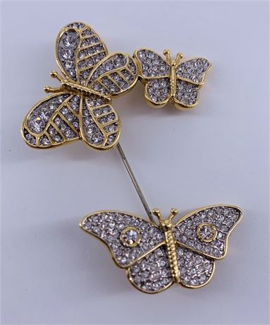 Vintage Butler Lapel Pin with Crystals