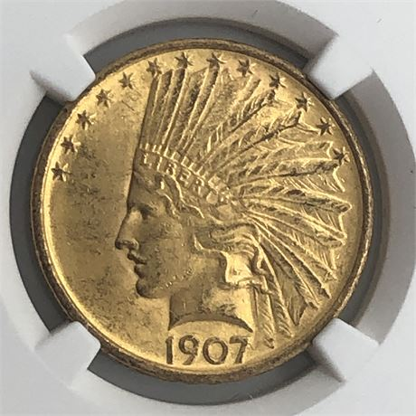 1907 $10 Indian Head Gold Eagle Coin NGC MS63 Rive d'Or Collection