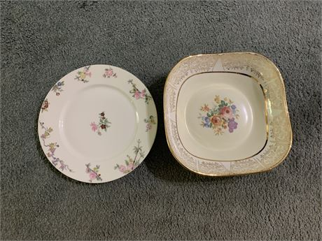 Limoges Plate and Syracuse China Bowl