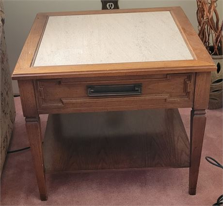 Vintage Side End Table Marble Inlay