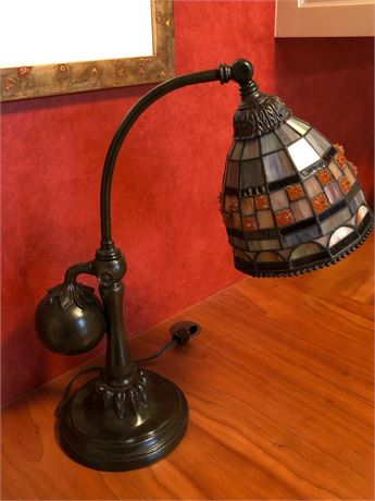 Leaded Glass Counterbalance Table Lamp
