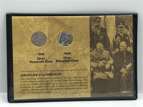 FDR Dime First and Last year 1946-D & 1964-D Roosevelt Dime Coins on Card