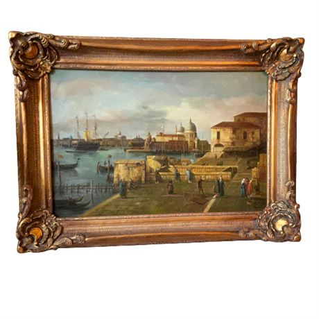 """""""Entrance to the Grand Canal from the Molo, Venice"""" by Canaletto Framed Print"""