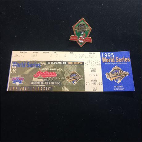 1995 World Series (Jacobs Field) Ticket Stub & Pin