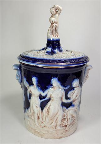 "Cobalt/Cream Tall Biscuit Jar 14""  Italy"