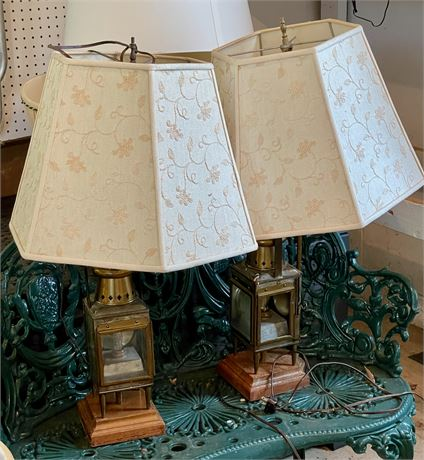 Pair of Table Lamps with Lantern Base