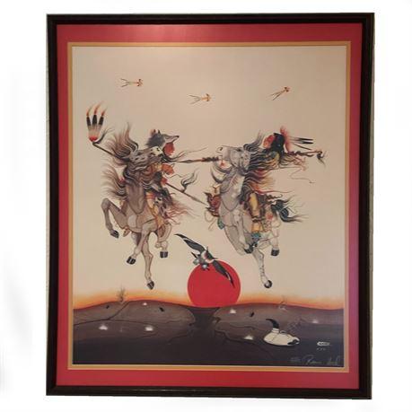 Rance Hood Signed Print 1040 /1500 Native American Framed Wall Art