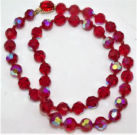 Red iridescent stone necklace