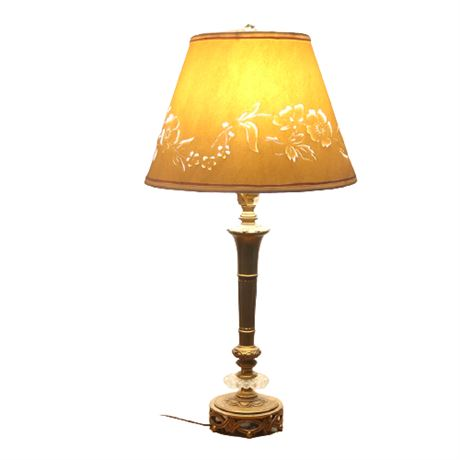 Vintage Brass & Glass Candlestick Table Lamp