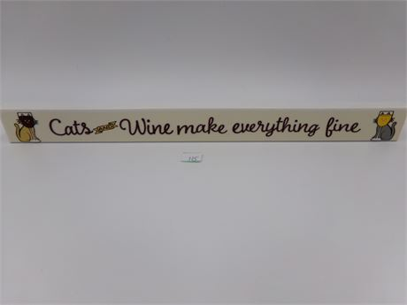 Cats and Wine Wood Sign