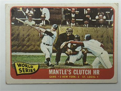 Mickey Mantle 1965 Topps #134 1964 World Series Game 3 Mantle's Clutch HR Card
