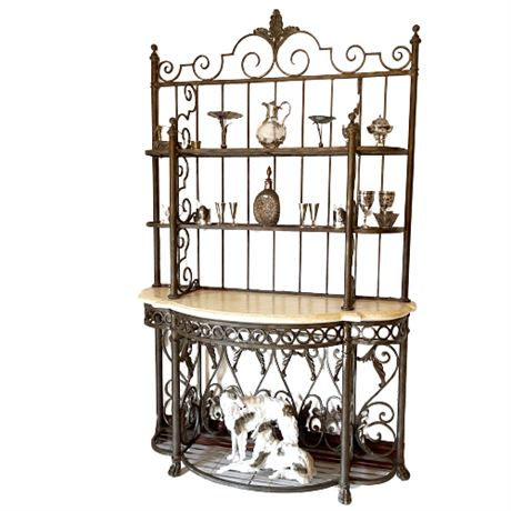 Wrought Iron and Marble Bakers Rack