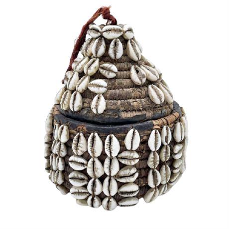 African Woven Shell Basket