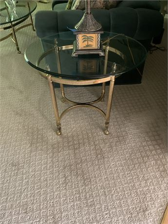 Contemporary Brass & Glass End Table