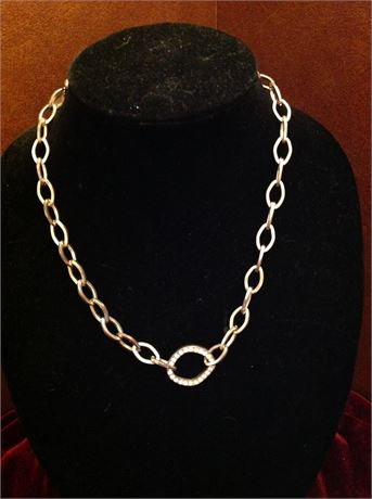 Chain Necklace with stone center ring